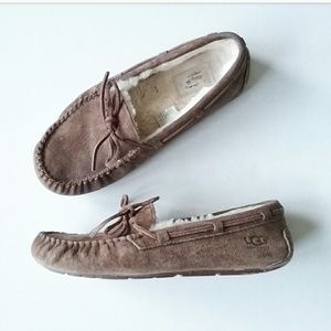 UGG Shoes - UGG Brown Leather Slipper Moccasin Driving Shoes